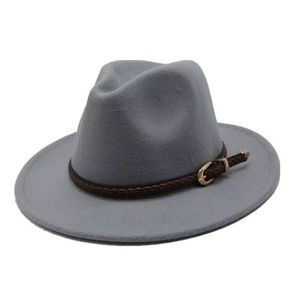 Light Gray Wool Felt Fedora Hat